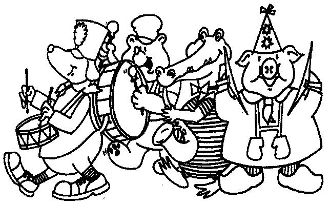 Coloriage Carnaval Rigolo.Coloriage Orchestre